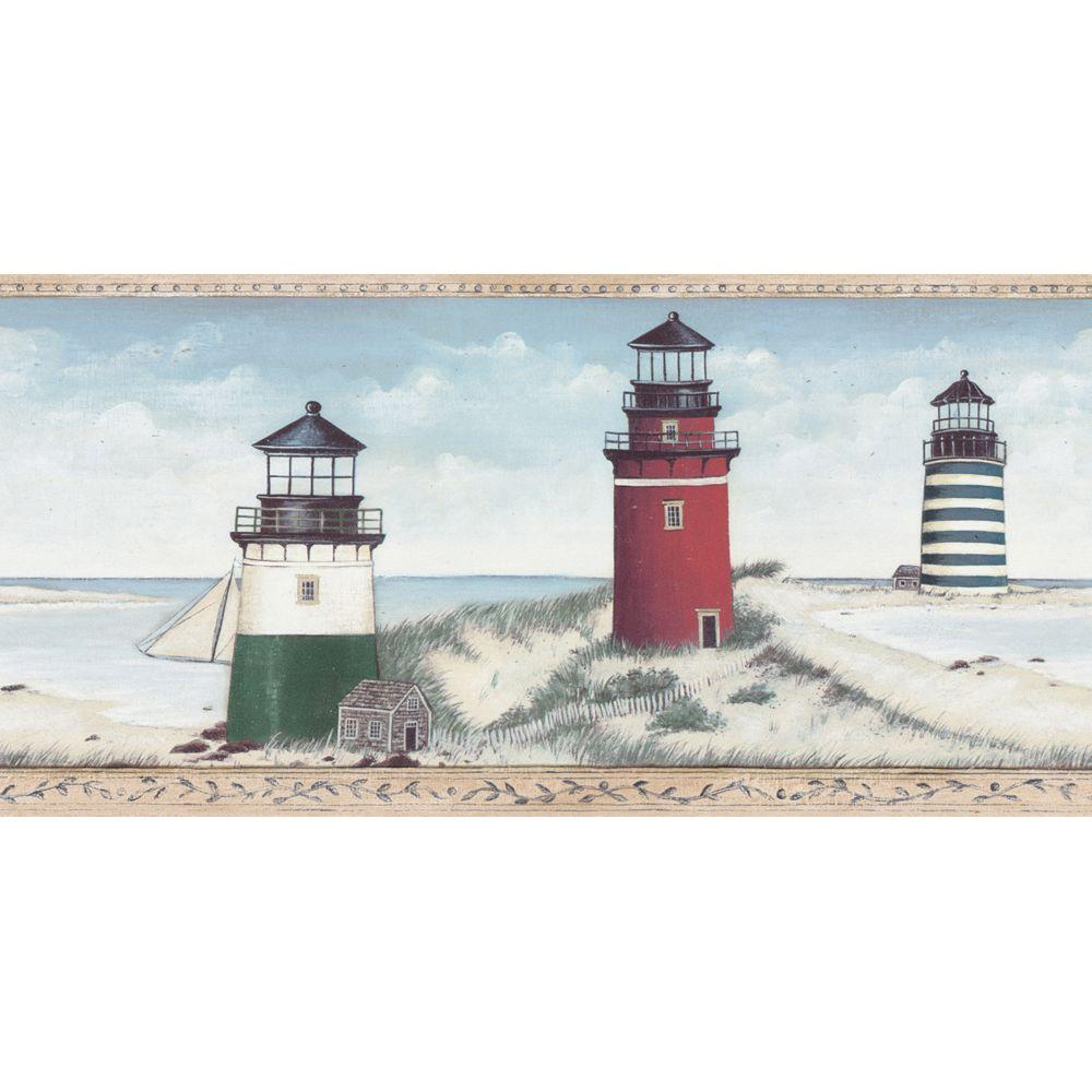 The Wallpaper Company 10.5 in. x 15 ft. Blue Lighthouse Border-DISCONTINUED