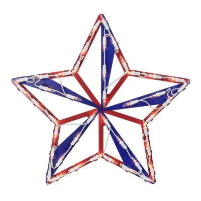 14.25 in. Lighted Red White and Blue 4th of July Star Window Silhouette Decoration