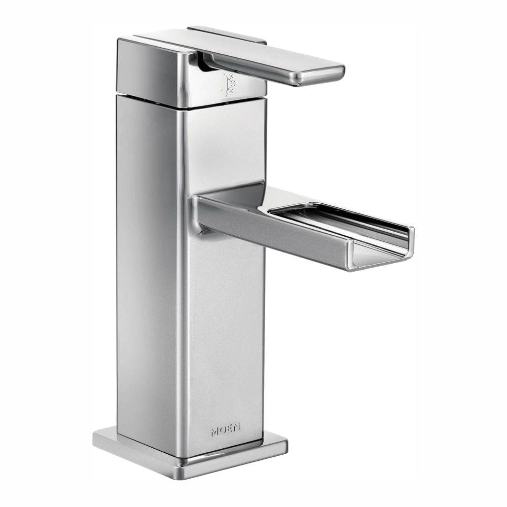 MOEN 90-Degree Single Hole 1-Handle Mid-Arc Lavatory Faucet in Chrome