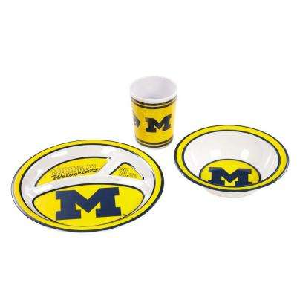 NCAA Michigan Wolverines 3-Piece Kid's Dish Set
