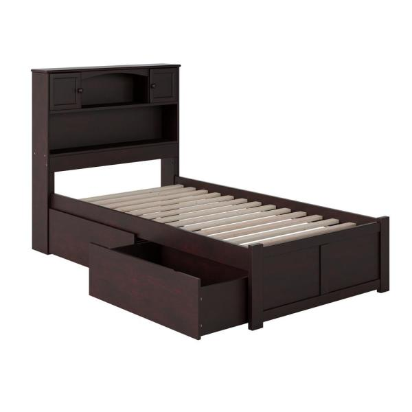 Newport Espresso Twin Platform Bed with Flat Panel Foot Board and 2-Urban Bed Drawers