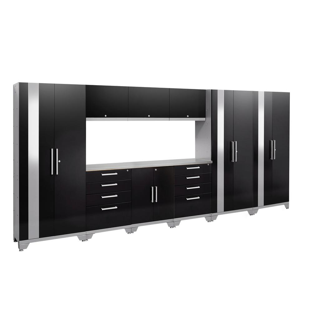 NewAge Products Performance 2.0 72 in. H x 162 in. W x 18 in. D Garage Cabinet Set in Black (10-Piece)