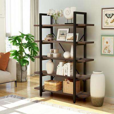 5-tier Industrial Bookcase with Rustic Wood and Metal Frame, Large Open Bookshelf for Living RoomConstruction