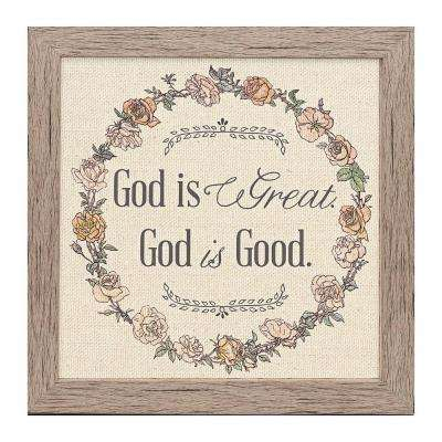 "Homespun Faith ""God is Good"" by Carpentree Framed Natural Canvas Wall Art"