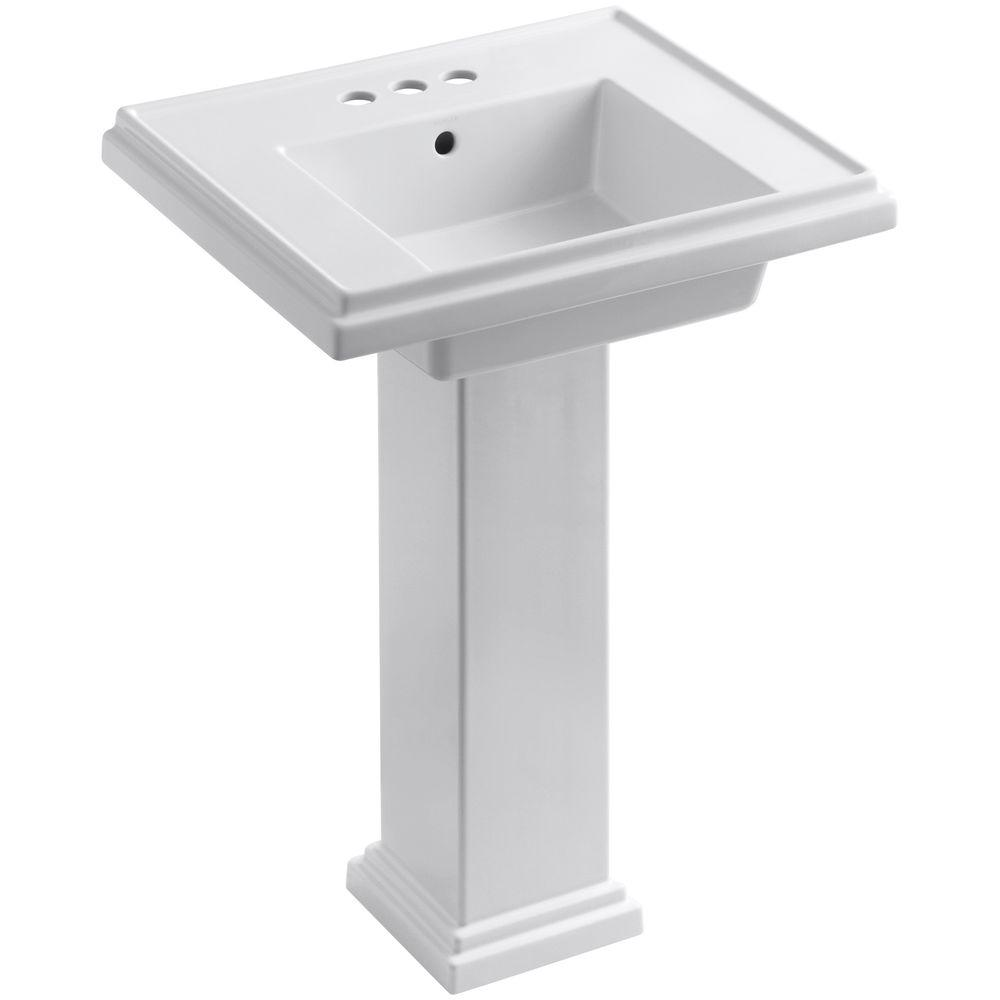 Tresham Ceramic Pedestal Combo Bathroom Sink with 4 in. Centers in