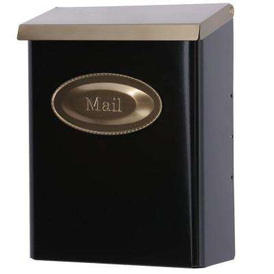 Designer Black Vertical Wall-Mount Locking Mailbox with Brushed Brass Decorative Emblem and Lid