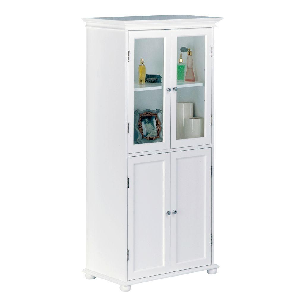 Delicieux Bathroom Storage Linen Cabinet Freestanding 52.5 In Tall No Warp Wood White  New