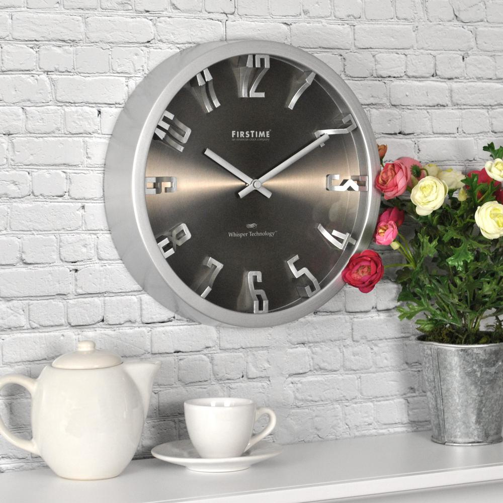 Wall clocks wall decor the home depot h steel dimension wall clock amipublicfo Image collections