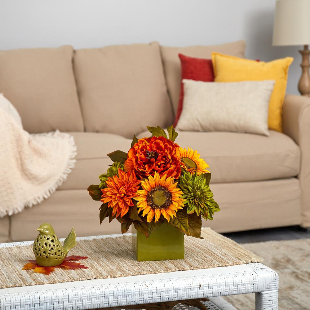 12 in. Peony, Dahlia and Sunflower Artificial Arrangement in Green Vase