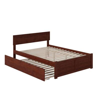 Orlando Walnut Full Platform Bed with Flat Panel Foot Board and Twin Size Urban Trundle Bed