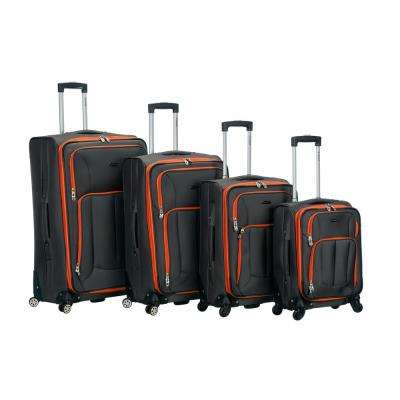 Rockland 4-Piece Impact Spinner Softside Luggage Set, Charcoal