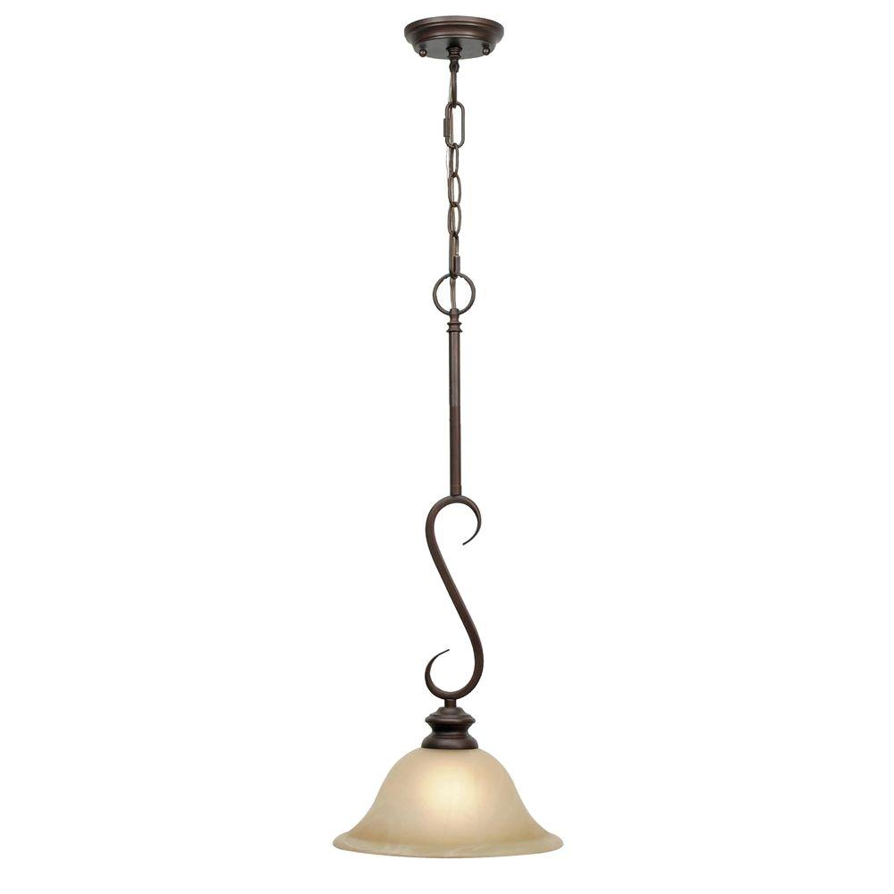 Golden Lighting Lancaster Collection 1 Light Rubbed Bronze Mini Pendant