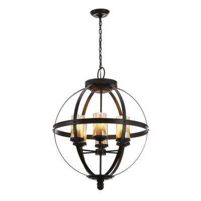 Sfera 24.5 in. W. 6-Light Autumn Bronze Chandelier with Mercury Glass Shade