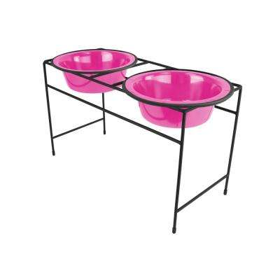 6.25 Cup Modern Double Diner Feeder with Dog Bowls, Bubble Gum Pink