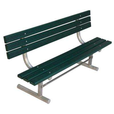 6 ft. Green Commercial Park Recycled Plastic Bench with Back Surface Mount