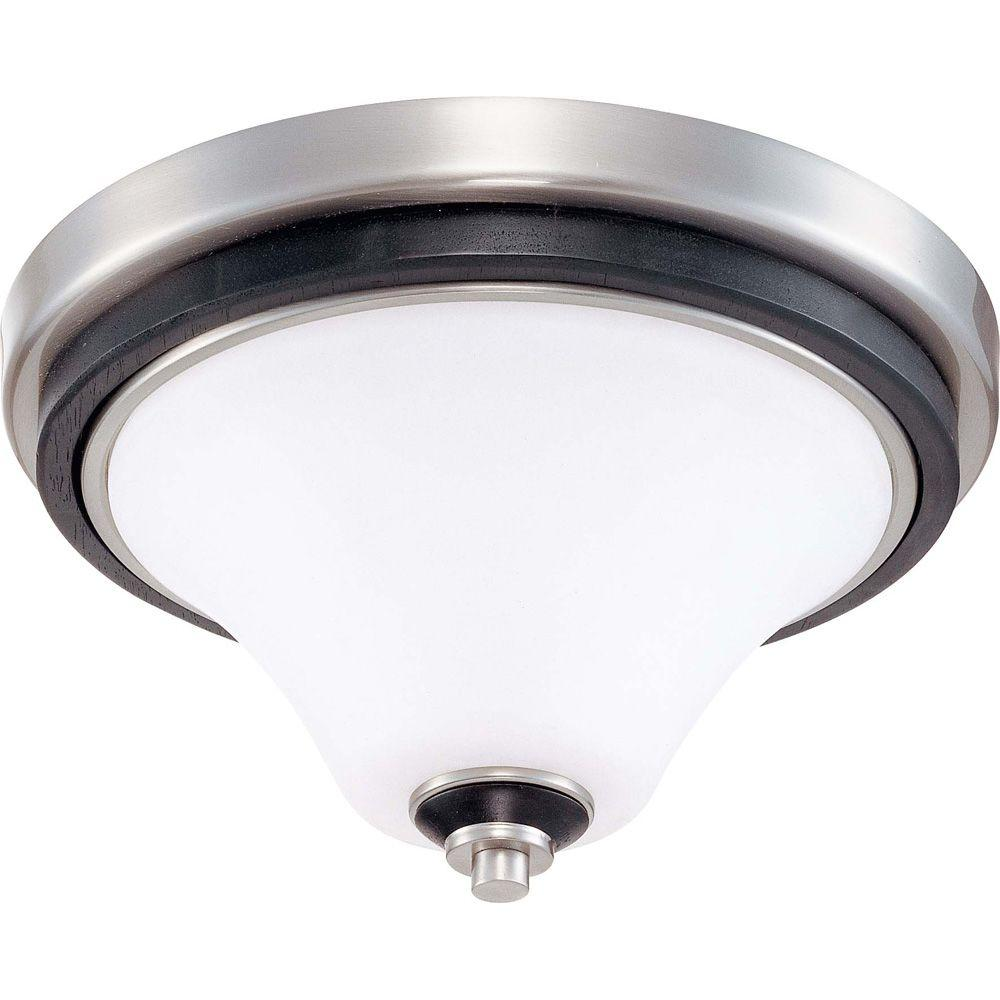 Glomar Keen 1 Light 11in. Flush Dome with Satin White Glass Finished in Ebony & Brushed Nickel