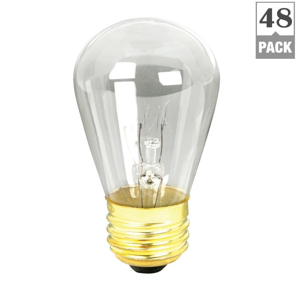 11-Watt Soft White (2700K) S14 Dimmable Incandescent String Light Bulb (48-Pack)