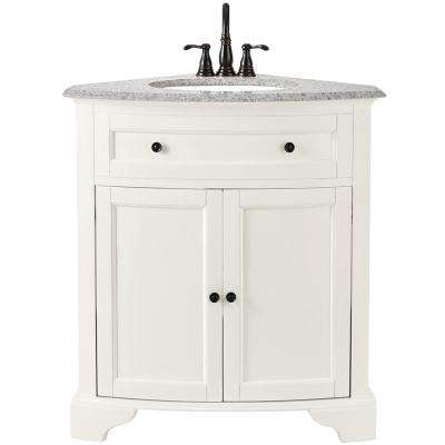 Hamilton 31 in. W x 23 in. D Corner Bath Vanity in Ivory with Granite Vanity Top in Grey