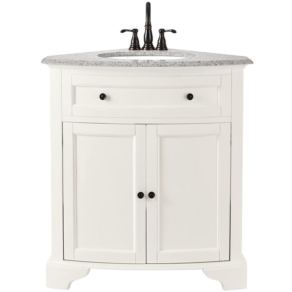 Home Decorators Collection Hamilton 31 in  W x 23 in  D Corner Bath Vanity  in Ivory with Granite Vanity Top in Grey 10809 CS30H DW   The Home Depot. Home Decorators Collection Hamilton 31 in  W x 23 in  D Corner