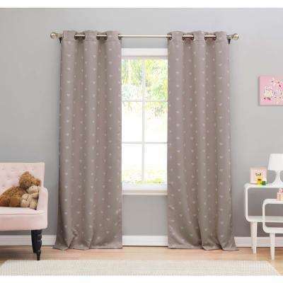 Print Grey Polyester Blackout Pole Top Window Curtain - 38 in. W x 84 in. L (2-Pack)