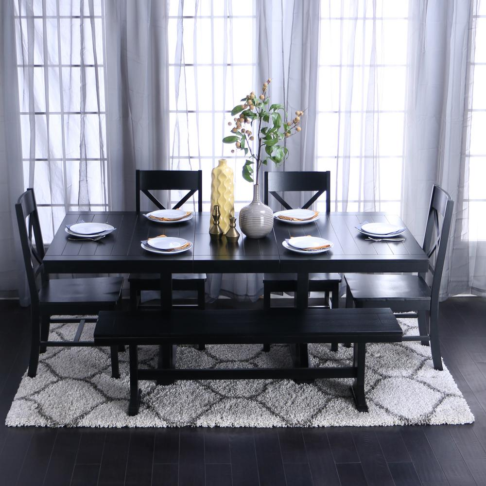 black dining table set Walker Edison Furniture Company Millwright 6 Piece Black Dining  black dining table set