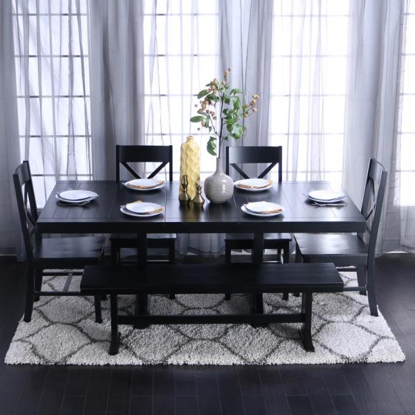 All Wood Dining Room Chairs: Walker Edison Furniture Company Millwright 6-Piece Black