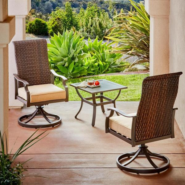 Rhone Valley 3-Piece Wicker Motion Outdoor Bistro Set with Tan Cushions