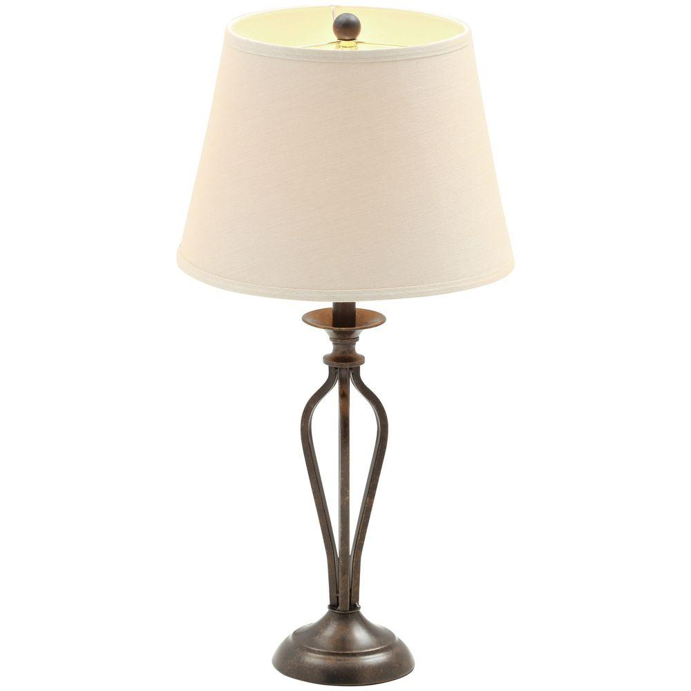 Hampton Bay Rhodes 28 in. Bronze Table Lamp with Natural Linen Shade ...