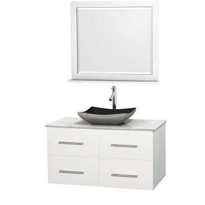 Centra 42 in. Vanity in White with Marble Vanity Top in Carrara White, Black Granite Sink and 36 in. Mirror