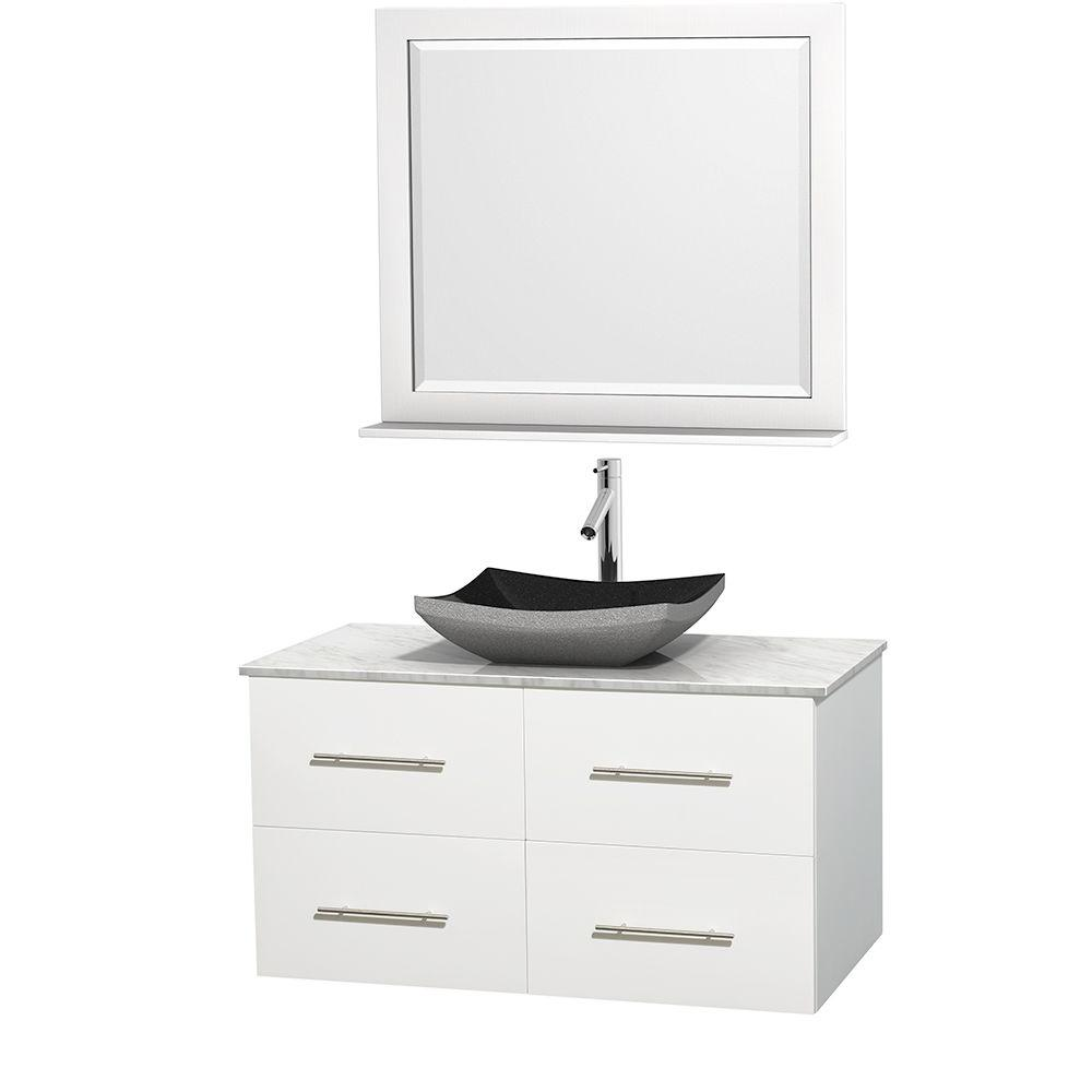 Wyndham Collection Centra 42 in. Vanity in White with Marble Vanity Top in Carrara White, Black Granite Sink and 36 in. Mirror