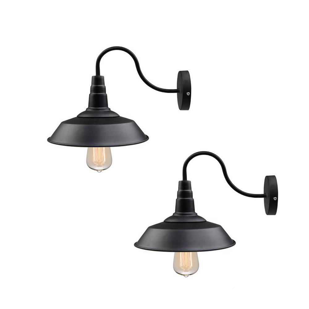 1-Light Black Gooseneck Farmhouse Lighting Barn Sconce (2-Pack)