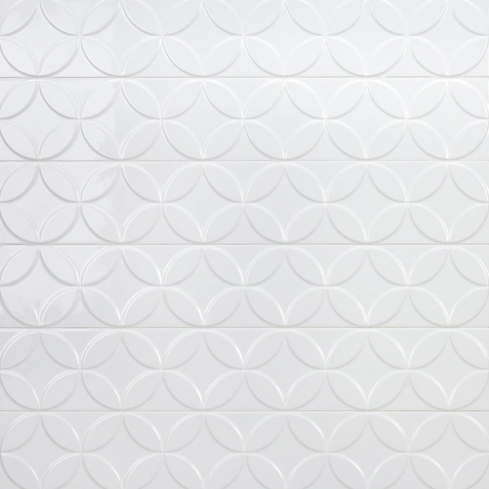 ivy hill tile cavanaugh deco white 4 in  x 24 in  x 10mm polished ceramic subway wall tile  8