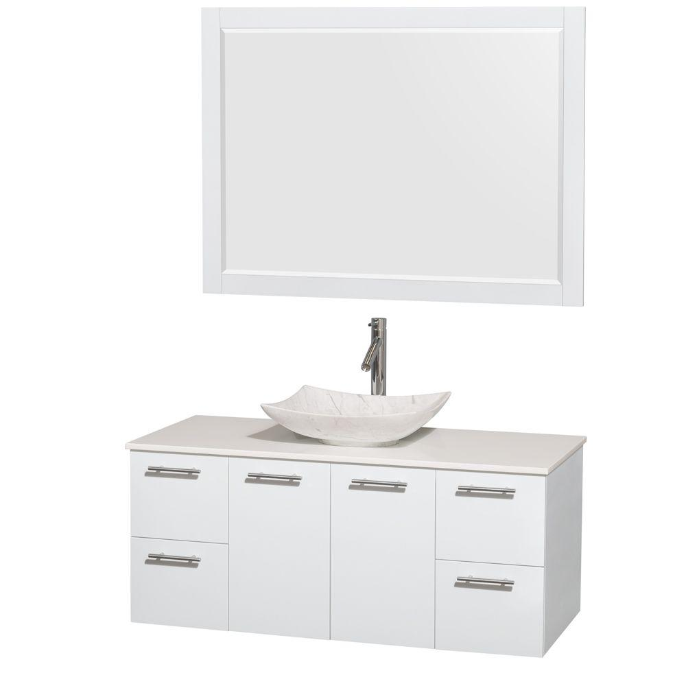 Wyndham Collection Amare 48 in. Vanity in Glossy White with Solid-Surface Vanity Top in White, Carrara Marble Sink and 46 in. Mirror