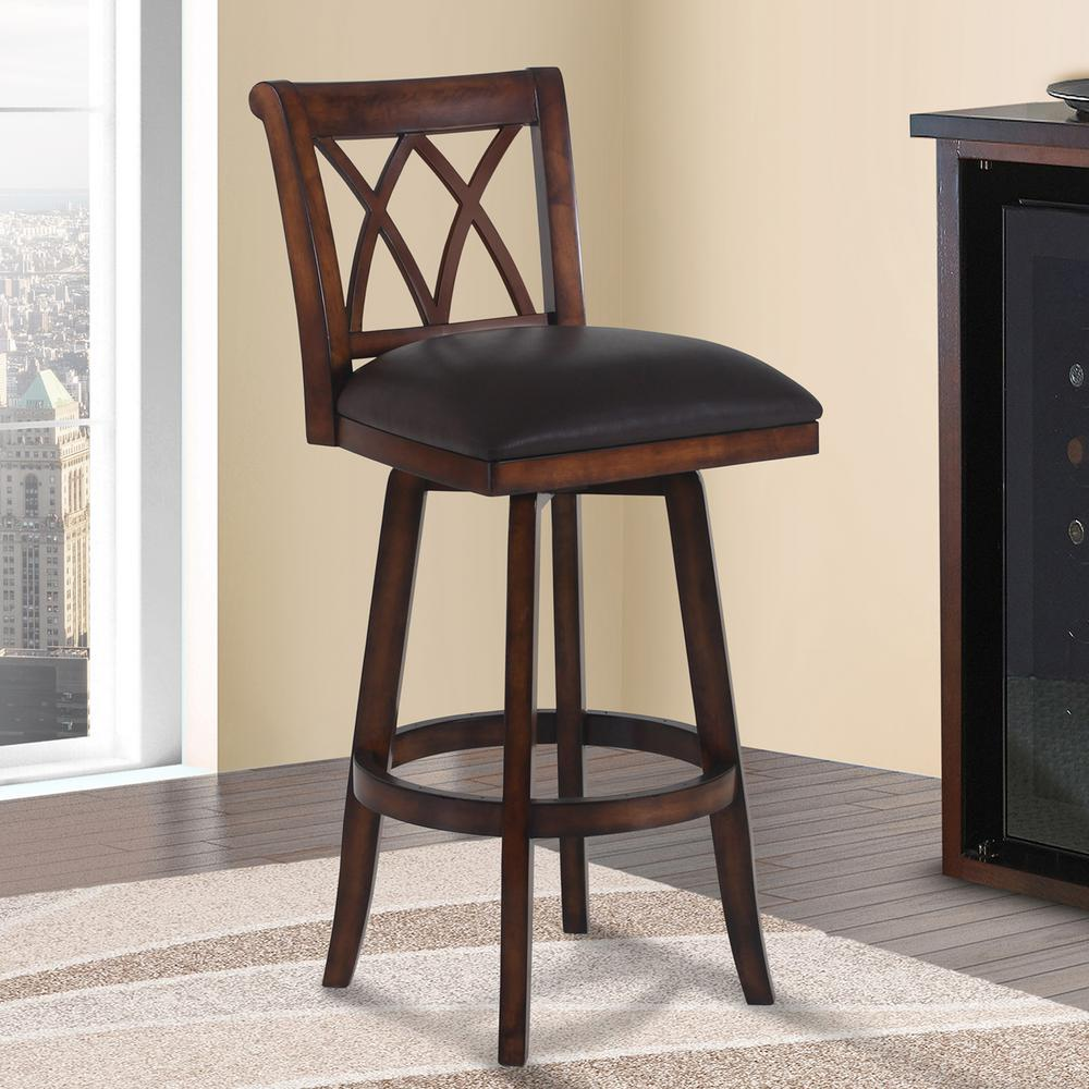 Superior Armen Living Sonoma 26 In. Brown Faux Leather And Pecan Wood Finish Swivel  Barstool