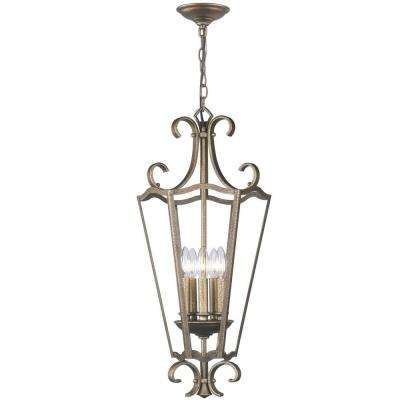 5-Light Distressed Brass Pendant