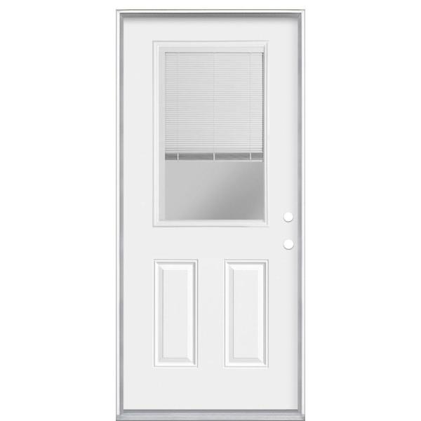 Masonite 36 In X 80 In Premium Clear 1 2 Lite Mini Blind Left Hand Inswing Primed Steel Prehung Front Exterior Door 84550 The Home Depot