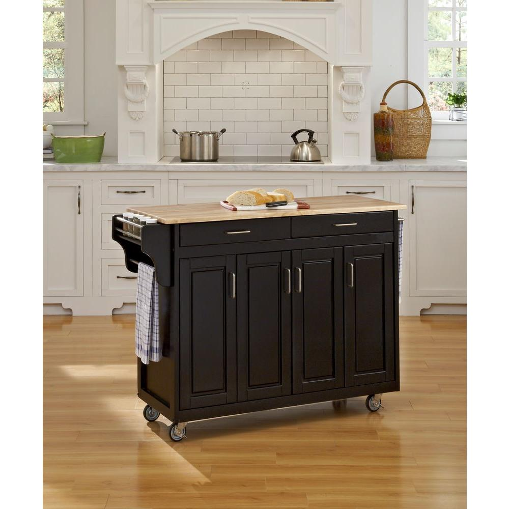 Home Styles Create-a-Cart Black Kitchen Cart With Natural Wood Top