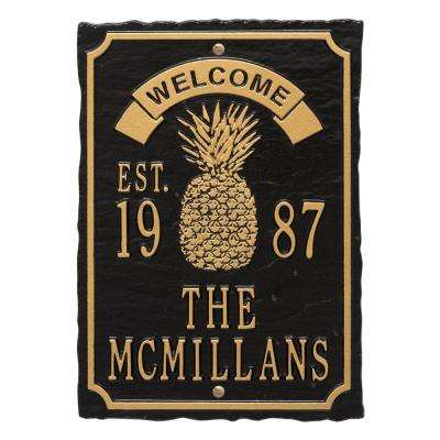 Antebellum Welcome Rectangular Standard Wall 3-Line Anniversary Personalized Plaque in Black/Gold