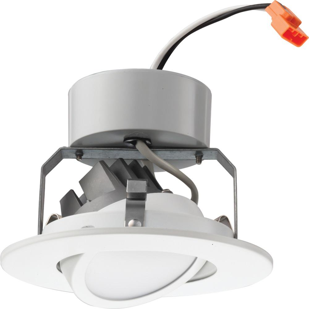 Lithonia Lighting Recessed Cans: Lithonia Lighting 4 In. Matte White Recessed Gimbal LED