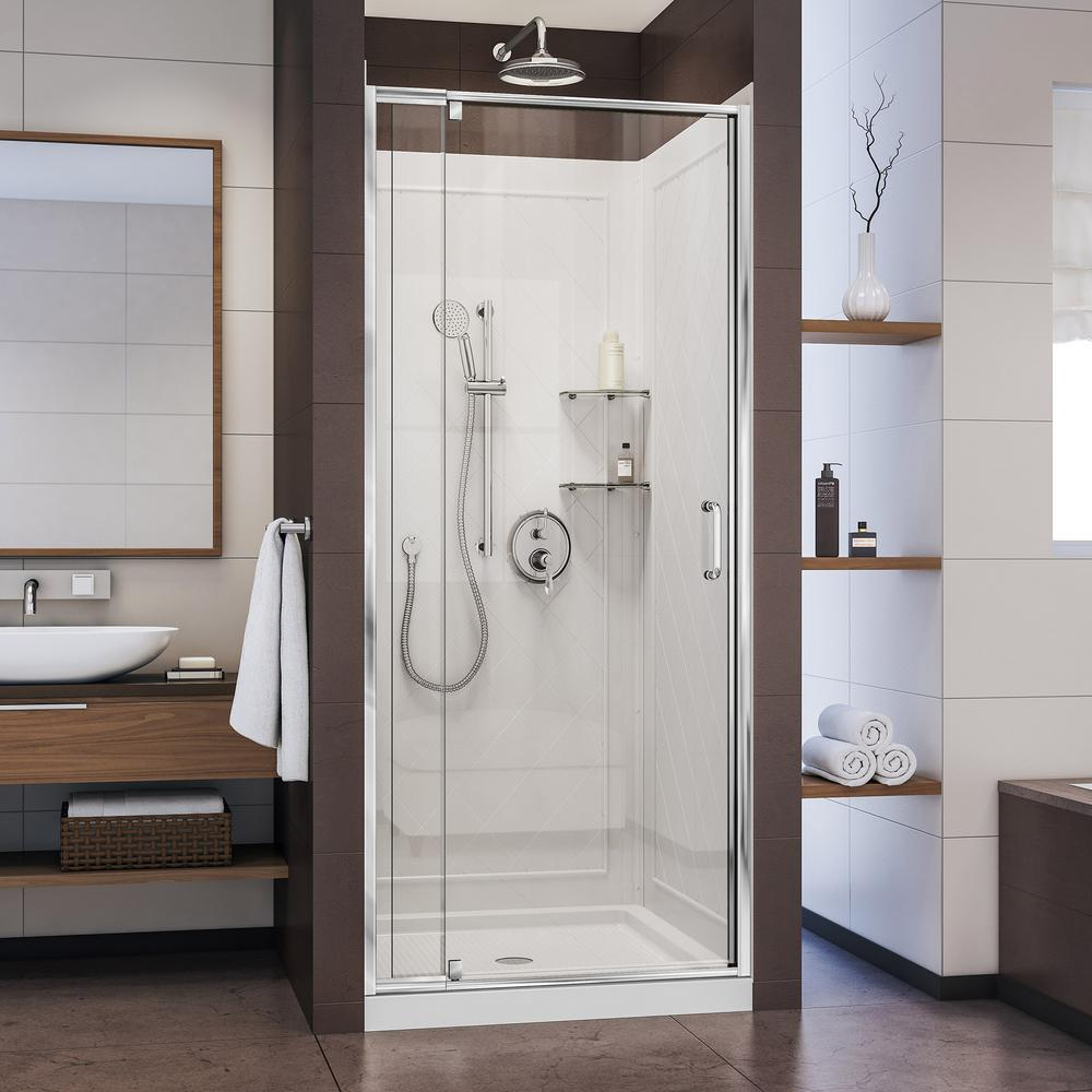 DreamLine Flex 36 in. x 36 in. x 76.75 in. Pivot Shower Kit Door in Chrome with Center Drain White Acrylic Base and Back Walls Kit