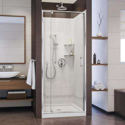 Flex 36 in. x 36 in. x 76.75 in. Pivot Shower Kit Door in Chrome with Center Drain White Acrylic Base and Back Walls Kit