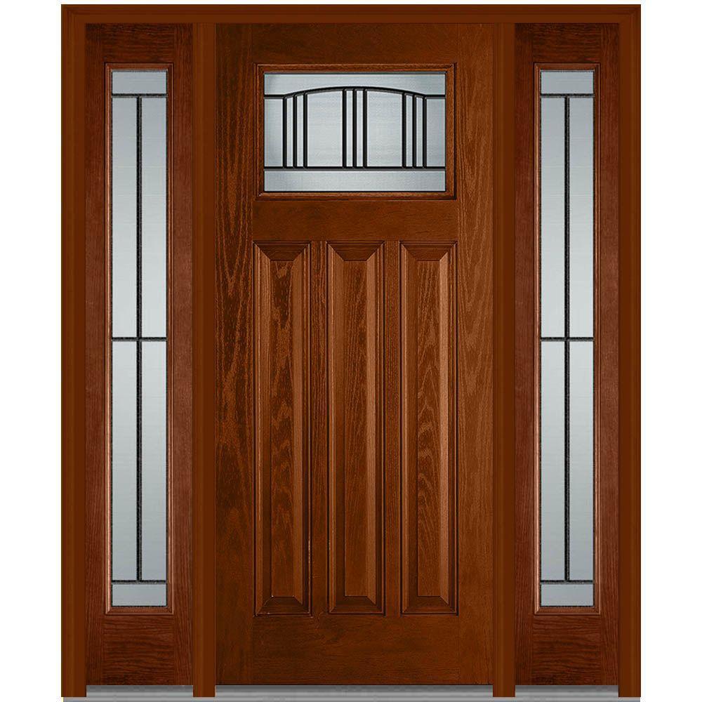 Mmi Door 60 In X 80 In Madison Left Hand Craftsman 1 4 Lite Classic Stained Fiberglass Oak