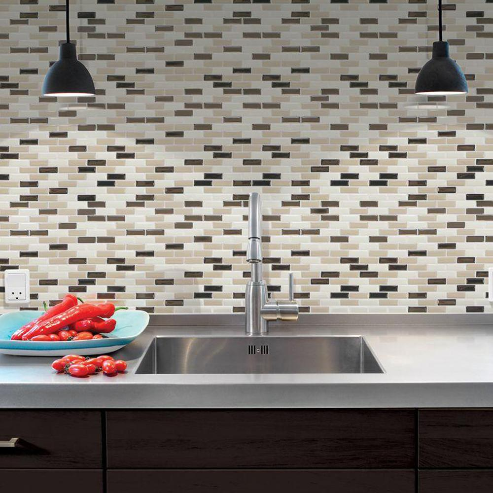Smart Tiles Murano Dune 10.20 in. x 9.10 in. Peel and Stick Decorative Wall Tile Backsplash in Beige (12-Pack)