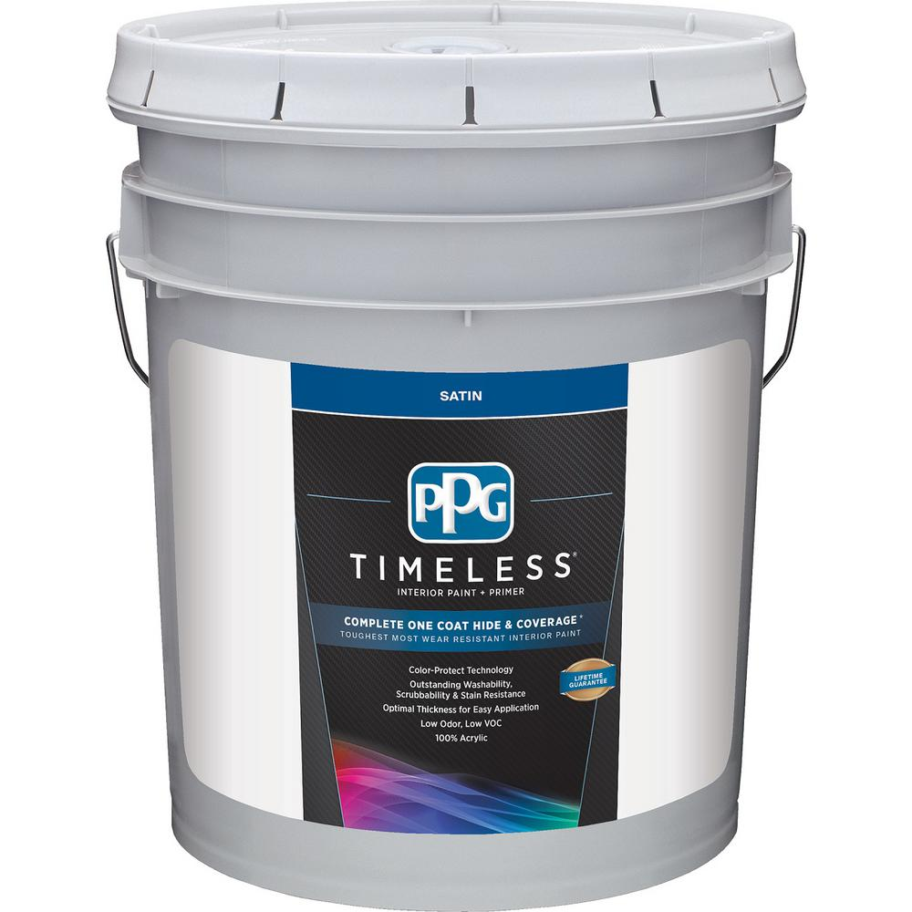 5 Gal Pure White Base 1 Satin Interior Paint With Primer