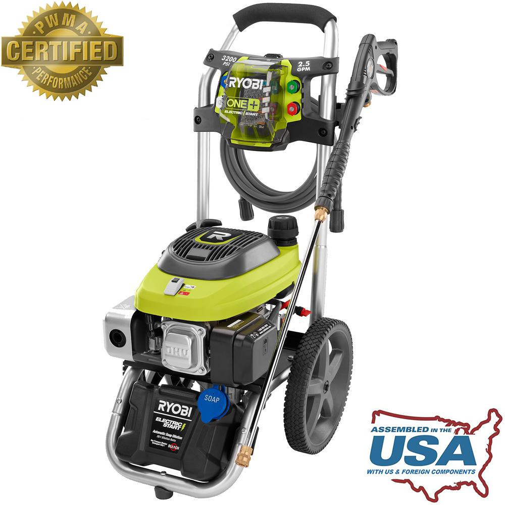 Outdoor gas pressure washer electric start hand track