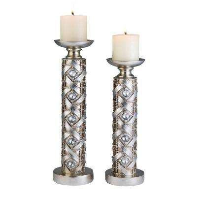 14 in. x 16 in. Dazzle Candle Holder Set in Silver