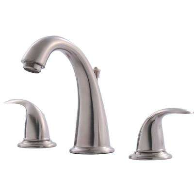 Builder's Series 8 in. Widespread 2-Handle Bathroom Faucet with Drain in Brushed Nickel