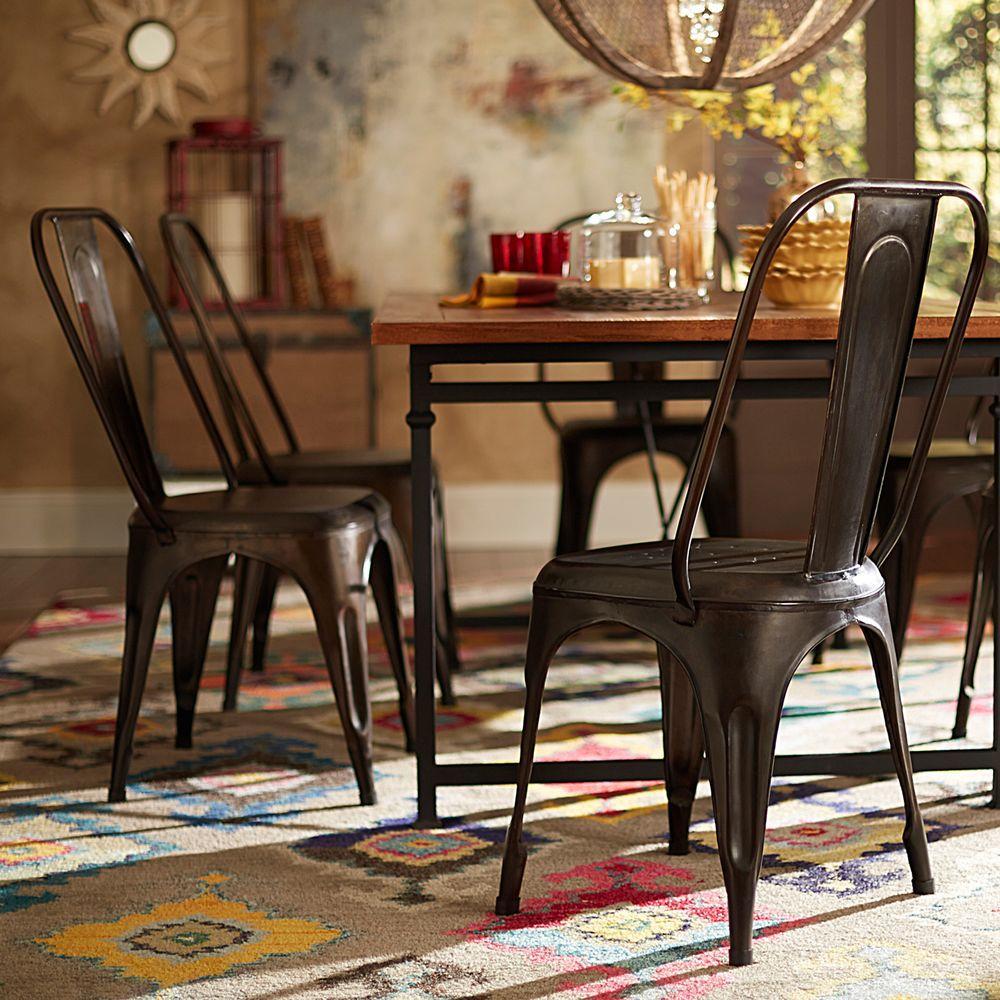 HomeSullivan Morven Park Tabouret Metal Side Chair in Rust (Set of 4)