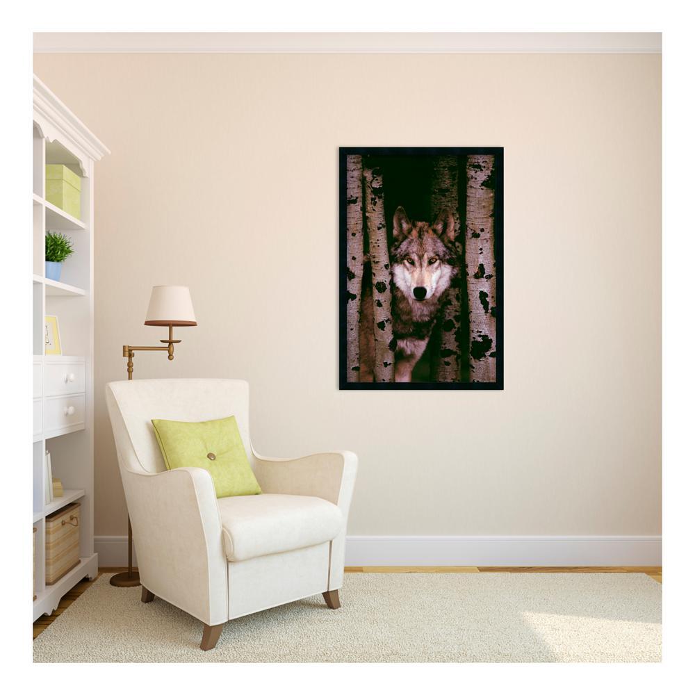 "25.5 in. W x 37.5 in. H ""Gray Wolf"" Framed Art Print"