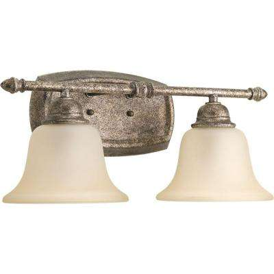 Spirit Collection 2-Light Pebbles Vanity Light with Etched Light Umber Glass Shades